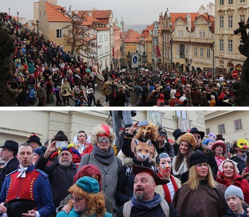 prague carnival people streets