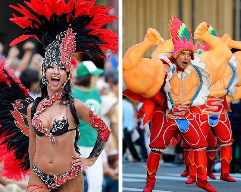 carnaval samba asakusa y japonesa con plumas rojas y negras
