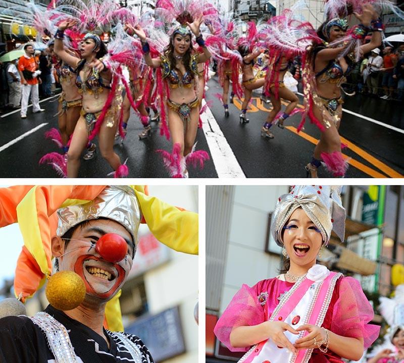 carnaval samba asakusa y payaso con nariz roja
