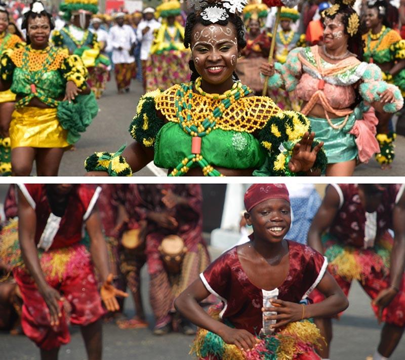 niño del carnaval de calabar bailando en el desfile