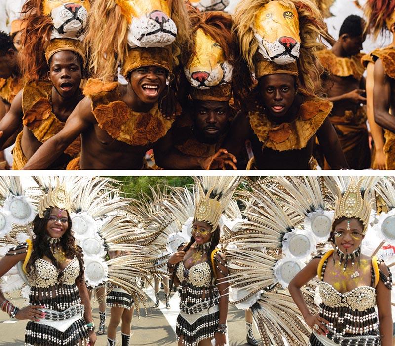 chicos del carnaval de calabar con disfraces de león