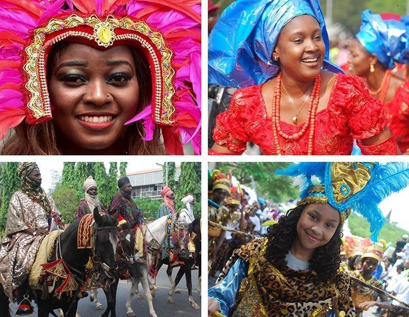 calabar carnival parade with horses