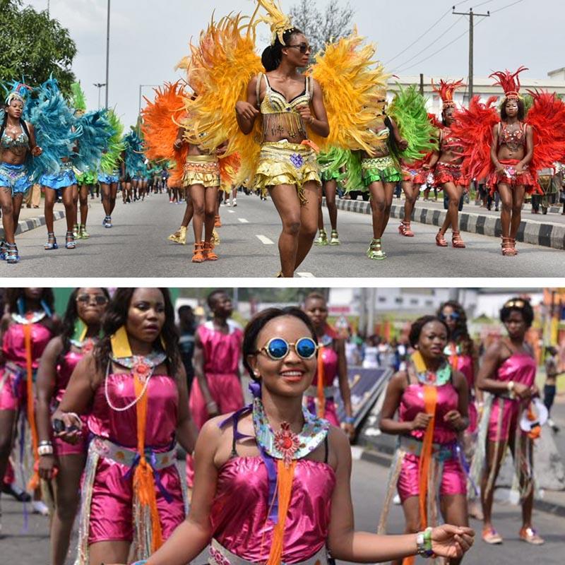 calabar carnival women marching and dancing