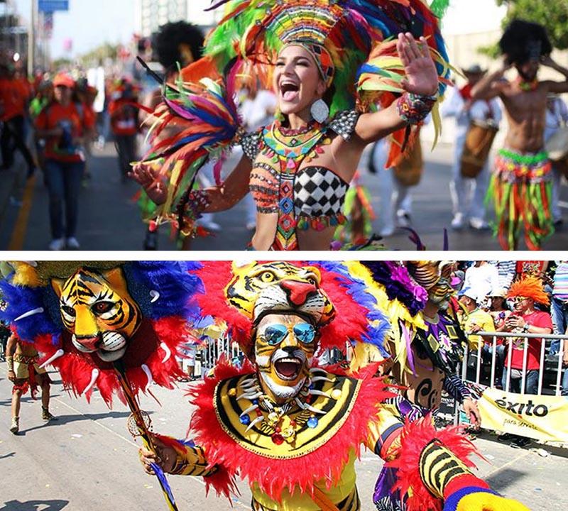 Carnaval de barranquilla con chica guapa riendo