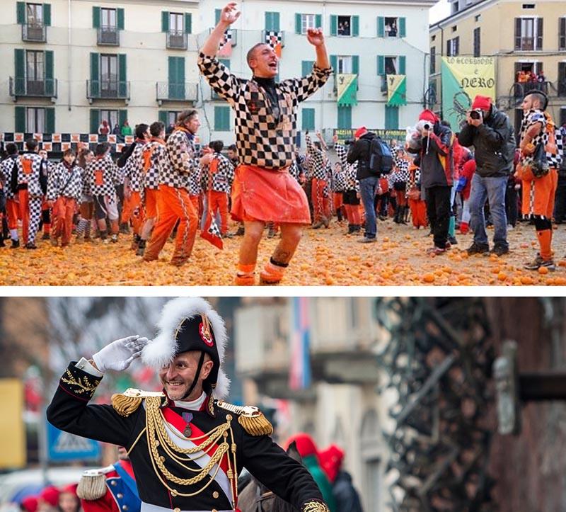 Ivrea carnival cabinet saluting and oranges
