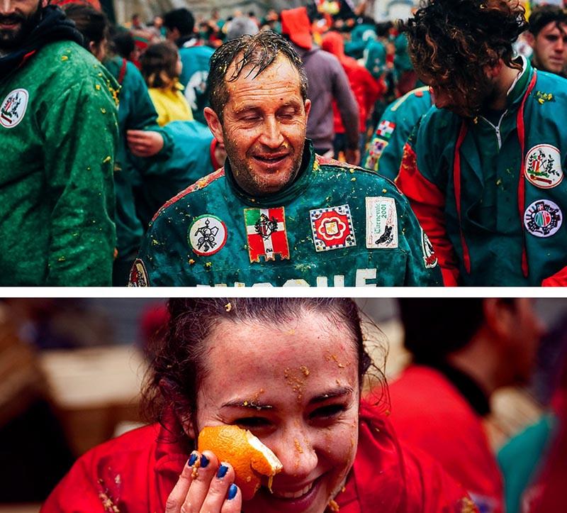 Ivrea carnival orange in the face crying