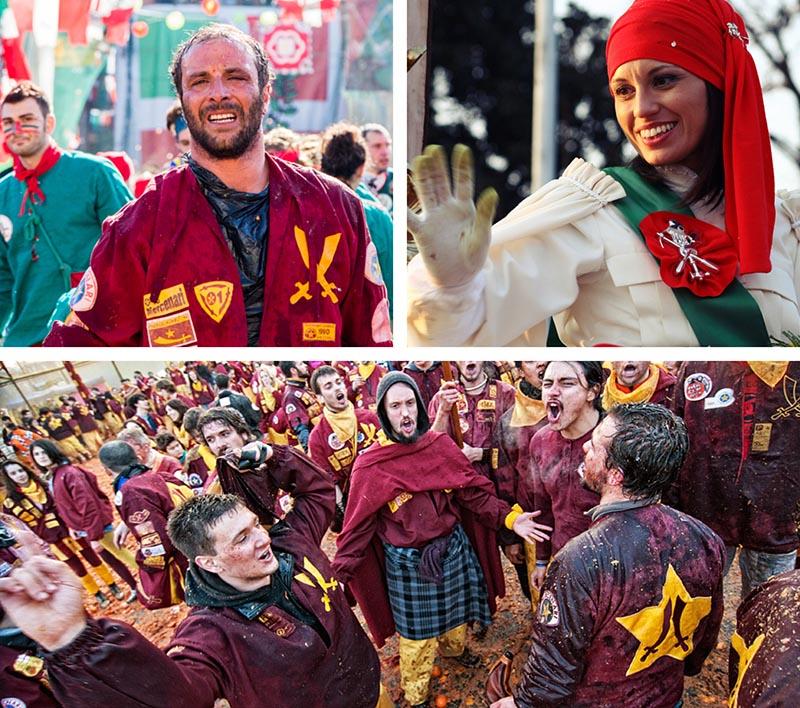 Carnaval de Ivrea cantando y saludando