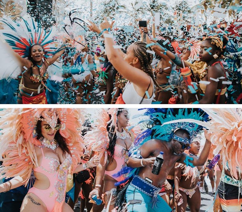 Junkanoo Carnival Dancing with confetti