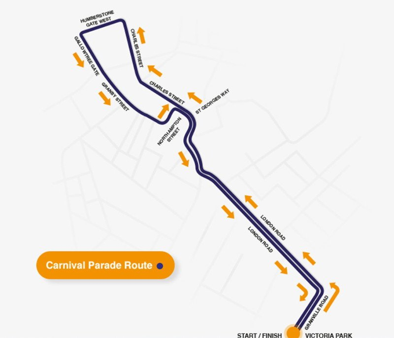 leicester carnival parade route