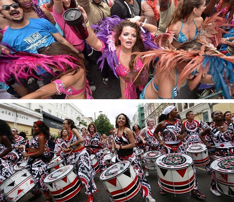 Carnaval de Notting Hill golpeando el tambor