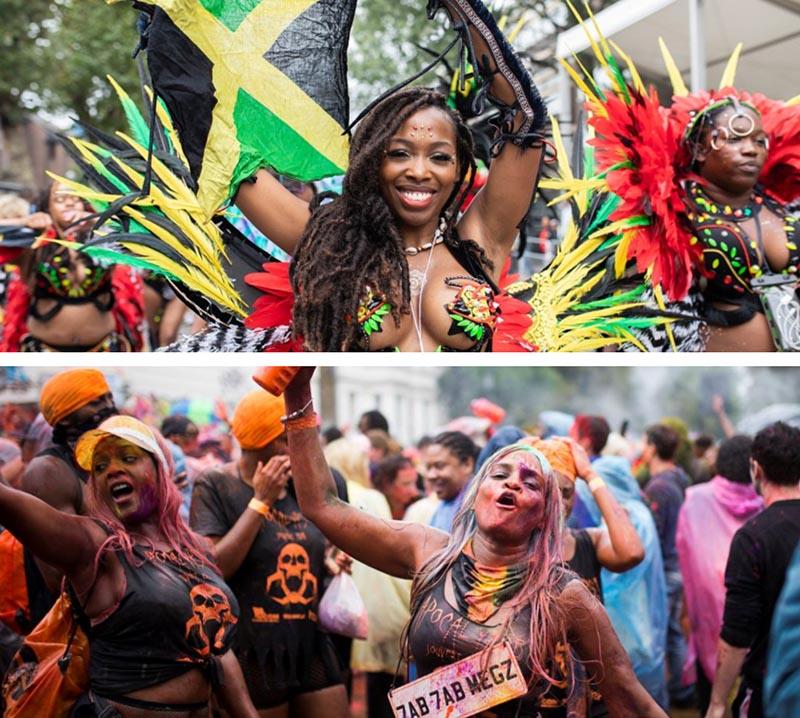 Las chicas del carnaval de Notting Hill manchadas de pintura