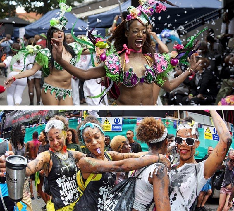 gritando de alegría en el Carnaval de Notting Hill