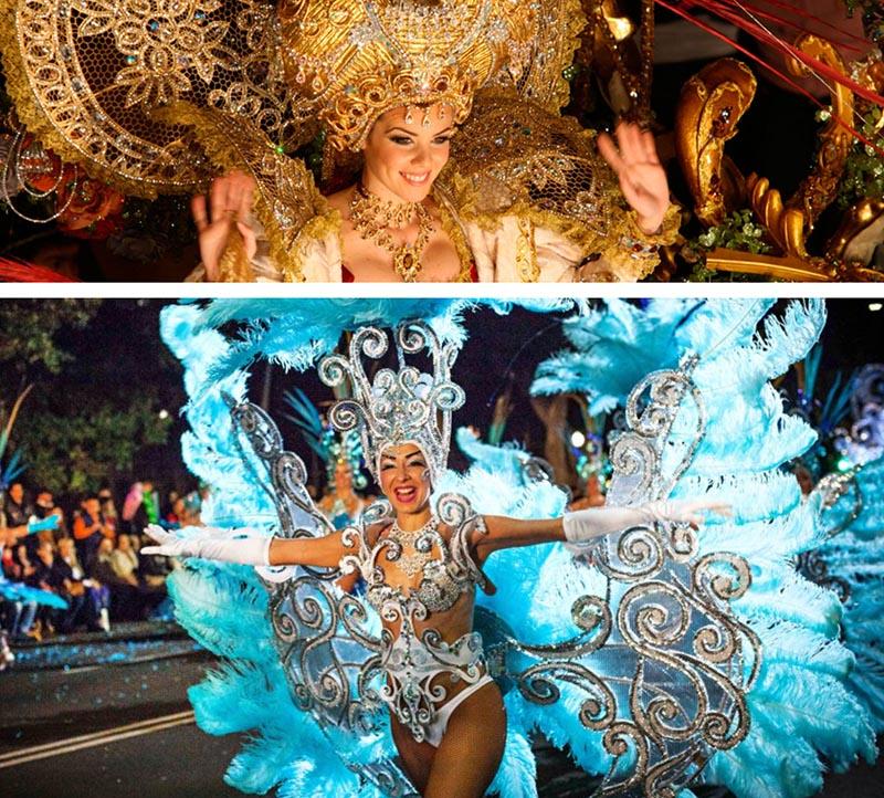 trajes de plumas bonitas en el carnaval de tenerife