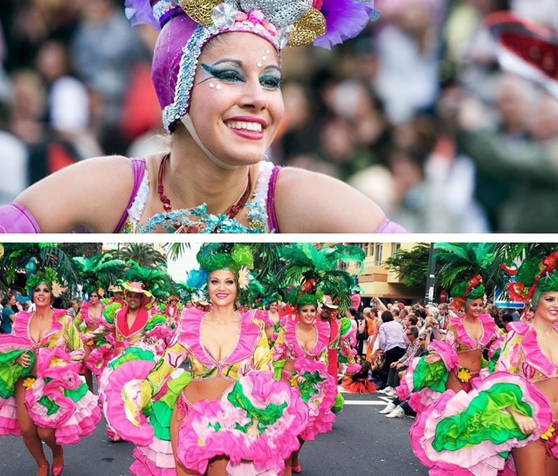 tenerife carnival beautiful woman dressed in flowers